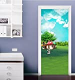 "3D Meadow House 419 Door Wall Mural Photo Wall Sticker Decal Wall | Self-adhesive 3D Door Wall Mural , AJ WALLPAPER US Lemon (Vinyl (No Glue & Removable), 【81""x32""】205x82cm(HxW))"
