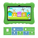 Yuntab Kids Tablet Q88H 7 Inch Allwinner A33,1.5Ghz Quad Core Android 4.4 Tablet PC,512MB+8GB,Dual Camera,WiFi,Bluetooth,3D Game,TF Card,Parental Control Software-iWawa with Kid-Proof Silicone Case(Green tablet with green case)