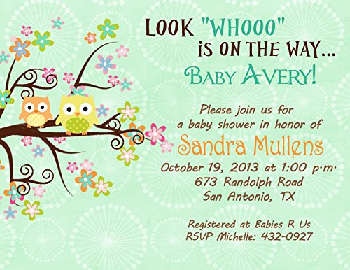 Custom Photo Baby Shower Invitations - Owl Baby Shower Invitations Personalized Your Color Tree Colorful