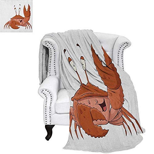 Single Nipper (CrabsFlannel Single Student blanketFriendly Chela Arthropod Waving His Nipper Greeting with a Big Smile Funny CreatureStudent Blanket 80