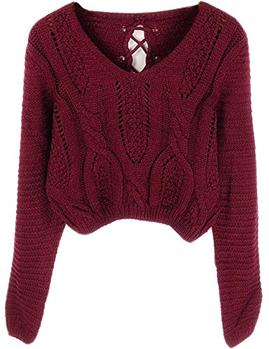 Burgundy Sweater - PrettyGuide Women's Long Sleeve Eyelet Cable Lace Up Crop Top Burgundy S