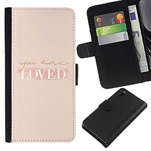 EJOY---La carpeta del tirón la caja de cuero de alta calidad de la PU Caso protector / Sony Xperia Z3 D6603 / --ser querido está autoayuda melocotón motivación