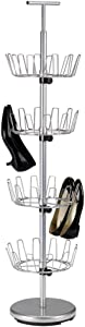 Household Essentials Revolving Four-Tier Shoe Tree, Silver Finish
