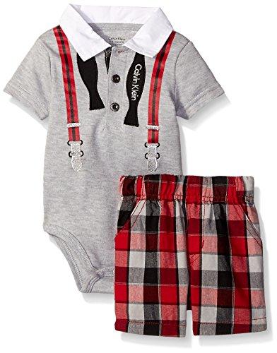 Calvin Klein Newborn Boys Interlock Body Top With Woven Shorts, Gray, 0-3 Months