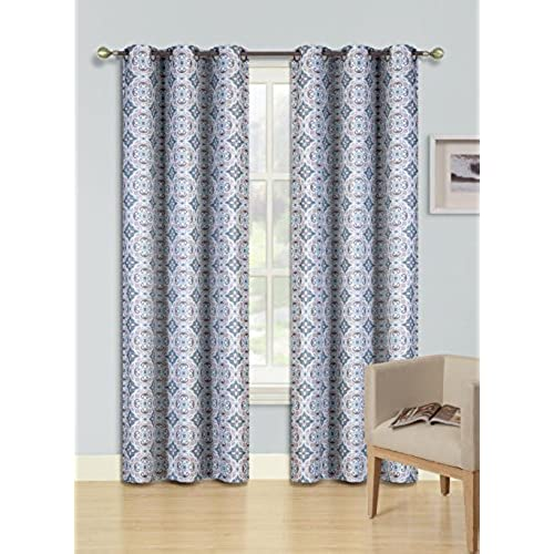 GorgeousHomeLinen FS 1 Panel 2 Tone Printed Design Room Darkening Thermal Blackout Window Curtain 63 Or 84 Long 3 Different Designs Length