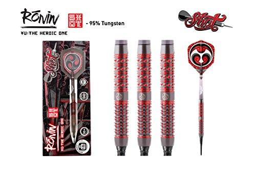 Shot! Darts Ronin Yu-Soft Tip Dart Set-Centre Weighted-95% Tungsten Barrels (20)