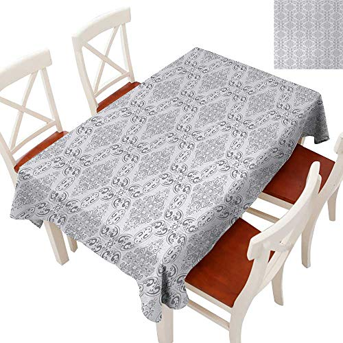(Elegant Waterproof Spillproof Polyester Fabric Table Cover Tablecloths for Rectangle/Oblong/Oval Tables Victorian Antique Tile Pattern with Royal Curlicues Old Rich Scroll Regency Motifs Grey Pale Gr)