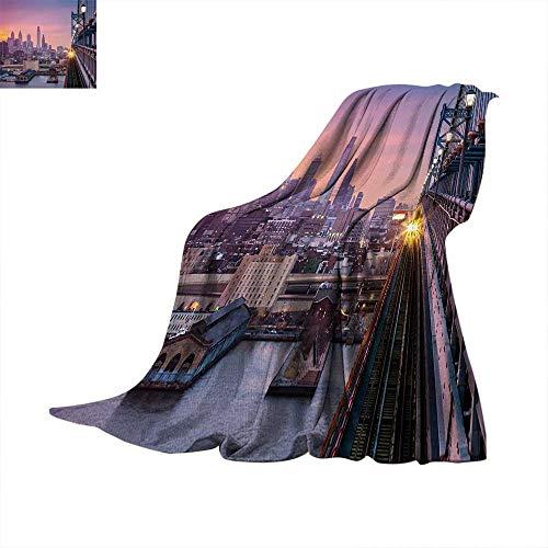 "American Digital Printing Blanket Philadelphia Under a Hazy Sunset Train on Vibrant Bridge Skyscrapers Landscape Print Artwork Image 70""x50"" Purple Blue"