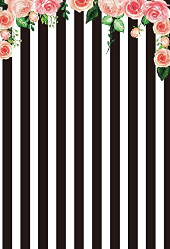 Baocicco 3x5ft Boy Girl Birthday Backdrop White and Black Stripe Backdrop Pink Floral Photography Background Blossom Flower Children Birthday Baby Shower Newborn Girl Princess Portrait Video Shoot