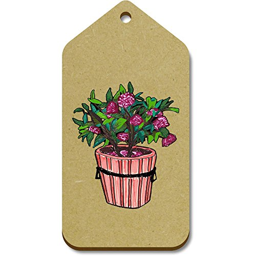Azeeda 10 x Large 'Flower Pot' Wooden Gift / Luggage Tags (TG00072974)