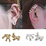 Honbay 4PCS Punk Rock Personality Talons Shaped Earrings Non Pierced Ear Cuff Fake Earrings Perfect for Both Men and Women