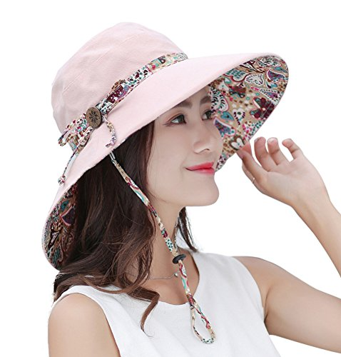 Urban CoCo Women's Summer Foldable Wide Brim Sun Hat UV Protection Beach Cap (Floral Reversible Hat)