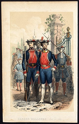 Antique Print-GUARDS-WALLONIA-BELGIUM-RIFLE-MILITARY-Journal des Haras-1858