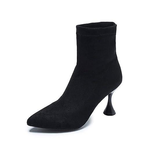Shirloy Botas De Mujer Botines De Tacón Alto Botas Botines Zapatos De Mujer Copa Vino Gamuza Delgada con tacón Alto Punta Elegante Glamour Sexy: Amazon.es: ...