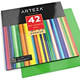 "ARTEZA Self Adhesive Vinyl Sheets, 12""x12"", Assorted Colors, Pack of 42, Waterproof and Easy to Weed & Cut, for Indoor & Outdoor Projects, Compatible with Cricut & Other Craft Cutters"