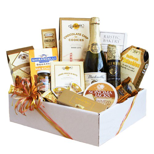 Scrumptuous Gourmet Gift Basket | Sparkling Cider, Meat, Cheese, Nuts, Chocolate and More
