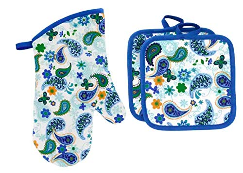 Jalpa Springtime Kitchen Oven Mitt Pot Holder Set Kitchen Linens Oven Mitt Pot Holder Pack for Spring Beautiful Flower Pot Holder Oven Mitts Combo.