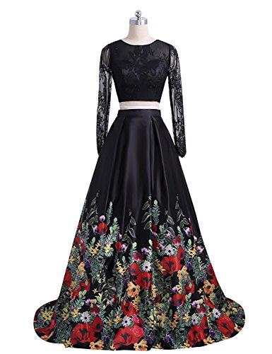 JoJoBridal Women's Two Piece Long Sleeve Prom Dresses Lace Floral Wedding Dresses - 2 Dress Ladies Piece