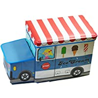 Toy Box Kids Storage Bin G Bundle Car Model Fold-able Stool Toy Chest (Ice Cream Truck)