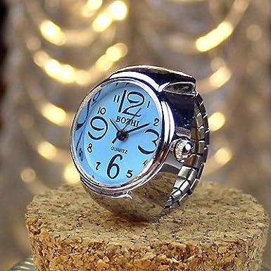 Amazon.com: Lingduan Creative Fashion Jewelry Start Unisex Men Women Couple Ring Watch Elastic Stainless Steel Quartz Finger Watch (Pink): Cell Phones & ...