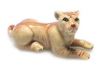 MINIATURE BEAUTIFUL MALE LION STATUE CERAMIC ANIMAL FIGURINE COLLECTIBLES DECOR