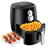 CHULUX Electric Air Fryer 4.2qt, Oilless Cooker Oven with Recipe Book, Baking Tray Dishwasher Safe, Temperature Control & Adjustable Time, Auto Shut Off & Memory Feation, Healthy Fast Oil Free Cooking