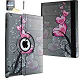 iPad Mini Case - JYtrend (TM) 360 Degrees Rotating Stand Leather Magnetic Smart Cover Case With Wake Sleep Feature For iPad Mini 1/iPad Mini 2/iPad Mini 3, With Free Screen Protector, Stylus and Cleaning Cloth, Pink Heart Flower