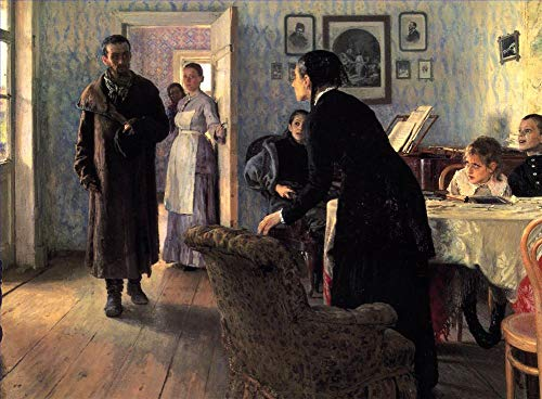 ($50-$2000 Hand Painted Art Paintings by College Teachers - Unexpected Visitors Russian Realism Ilya Repin Famous Oil Painting on Canvas Wall Decor - Large Size)