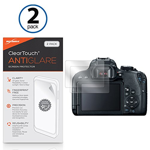 BoxWave Canon EOS Rebel T7i Screen Protector, [ClearTouch Anti-Glare (2-Pack)] Anti-Fingerprint Matte Film Skin for Canon EOS Rebel T6i, T6s | EOS Rebel T7i ()