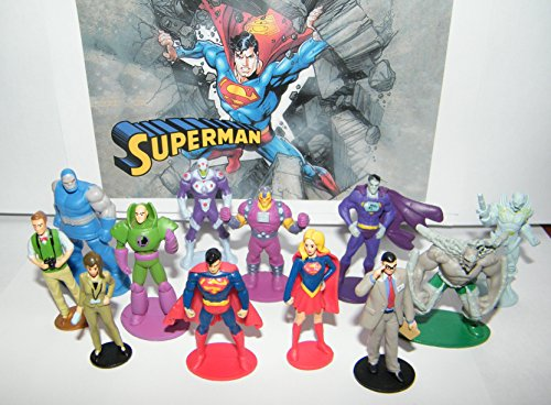 Doomsday Figure Set - Superman Deluxe Mini Figure Set of 13 with Supergirl, Doomsday, Jimmy Olsen, Clark Kent, Darkseid, Brainiac, Lois Lane, Lex Luthor and More!