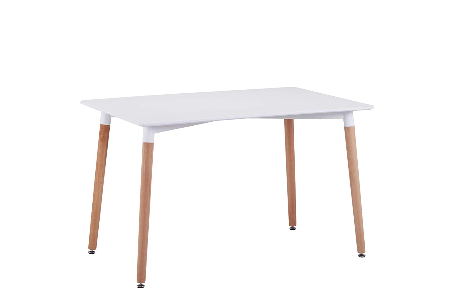 CrazyGadget Retro Design Wood Contemporary Style Table for Office Lounge Dining Kitchen - White