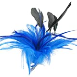Blue Feather Cluster Hair Beak Clip Brooch Corsage Bridal Fascinator