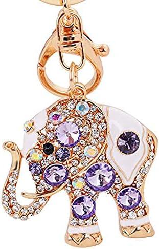 Reizteko Lucky Elephant Colorful Opal Rhinestone Plating Mujeres CocheBolsa Llavero Monedero EncantoPúrpura