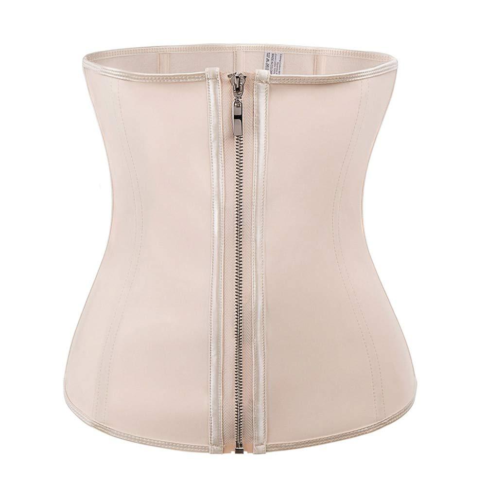 HeroStore Women Waist Trainer Corset Body Shaper Black Latex Rubber Steel Boned Zippers Firm Waist Cinchers Modeling Strap Tummy Control