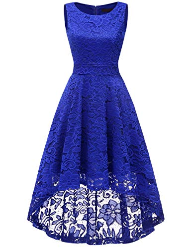 DRESSTELLS Women's Homecoming Vintage Floral Lace Hi-Lo Cocktail Formal Swing Dress Dress Royal Blue - Pale Dress Blue Lace
