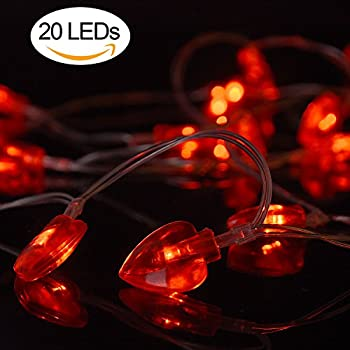 AOSTAR Valentine Lights 20 Heart Shaped String Lights (6.56 Ft. Red),  Battery