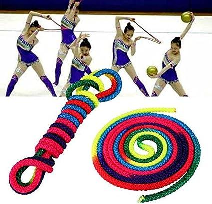 Ladieshow Corde dentra/înement Corde de Gymnastique Rythmique Couleur Arc-en-Ciel