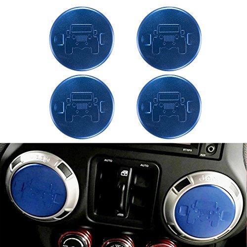 Santu 4PCS Car Air Conditioning Vent Trim Cover Jeep Interior Decoration Accessories for Wrangler JK 2007 UP (Blue)