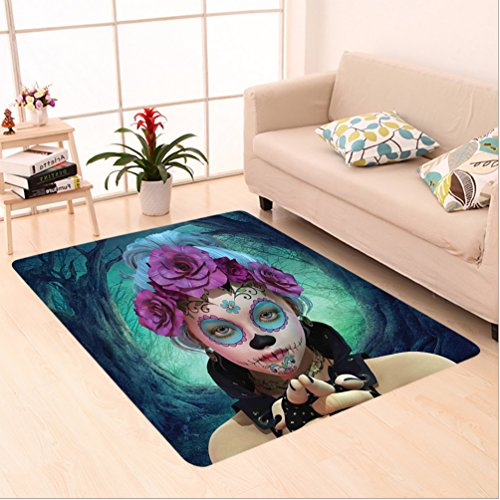 Nalahome Custom carpet ror Scary Clown like Girls Showing her Hands with Gloves an Flowers in Her Head Print Multicolor area rugs for Living Dining Room Bedroom Hallway Office Carpet (2' X 10') (Durango Print Gloves)