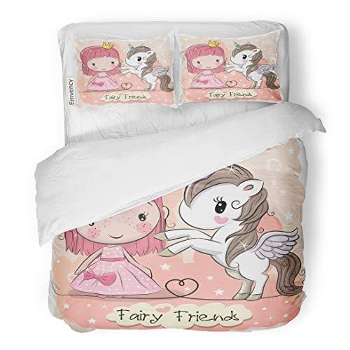 Fairy Princess Garden Twin Quilt - Tarolo Bedding Duvet Cover Set Pink Birthday Cute Cartoon Fairy Tale Princess and Unicorn Kids Adorable Baby 3 Piece Twin 68