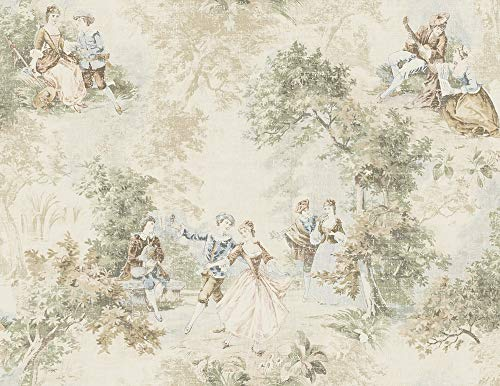(Vintage Toile Wallpaper in Warm Neutral MV82302 from Wallquest)