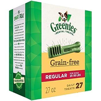 GREENIES Grain Free Dental Dog Chews, Regular, 27 Treats, 27 Ounces; Grain Free Dental Dog Treats: For Clean Teeth and Healthy Gums