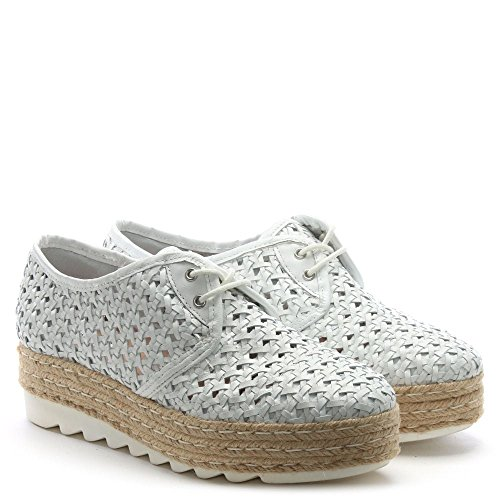Pizzo Flatform Donna Pelle Piu In Espadrillas Shirlington White Tessuto Bianca Leather FrFYqE