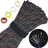 4-in-1 100ft 550 Paracord 550 Fire Cord Paracord 7 Strand, 5/32' Diameter U.S. Military Type III 550 Parachute Cord (MIL-C-5040H) with Integrated Fishing Line, Fire-Starter Tinder