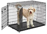 Ulitma Pro (Professional Series & Most Durable MidWest Dog Crate) Extra-Strong Double Door Folding Metal Dog Crate w/ Divider Panel, Floor Protecting ''Roller Feet'' & Leak-Proof Plastic Pan