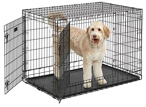 Ulitma Pro (Professional Series & Most Durable MidWest Dog Crate) Extra-Strong Double Door Folding Metal Dog Crate w/ Divider Panel, Floor Protecting ''Roller Feet'' & Leak-Proof Plastic Pan by MidWest Homes for Pets