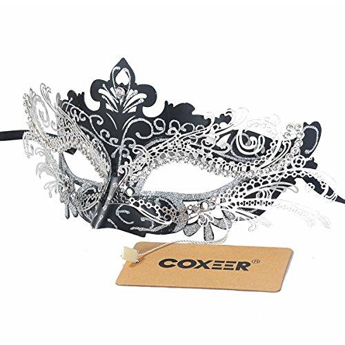 Coxeer Pretty Elegant Lady Masquerade Halloween Mardi Gras Party Mask (Black & Silver) ()