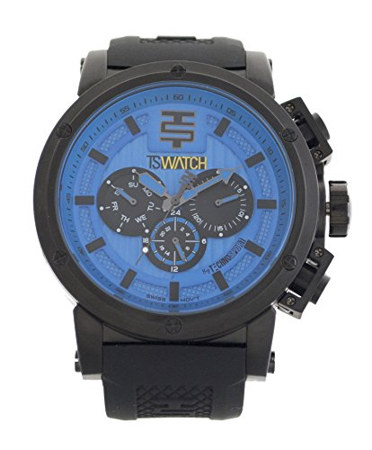 Technosport Men TS-900-14 Black Silicon Strap Stainless Steel Watch, Blue Dial with Black Details