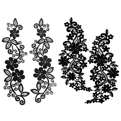 Prettyia 2 Pairs Black Embroidery Lace Appliques Sewing for sale  Delivered anywhere in Canada