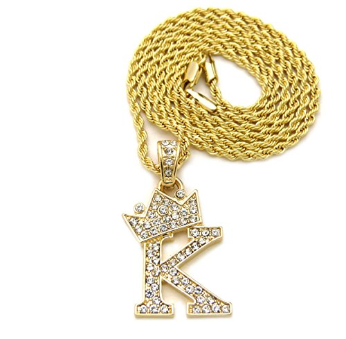 Fashion 21 Unisex Small Size Pave Crown Tilted Initial Alphabet Letter Pendant 2mm 22